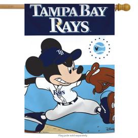 Tampa Bay Rays MLB Mickey Mouse Baseball House Flag