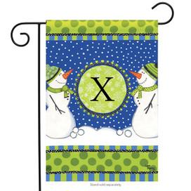 Winter Frolic Monogram X Garden Flag