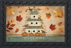 Welcome Fall Birdhouse Primitive Doormat