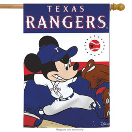 Texas Rangers MLB Mickey Mouse Baseball House Flag