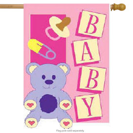 Baby Girl Decorative Large Applique House Flag by Red Carpet Studios