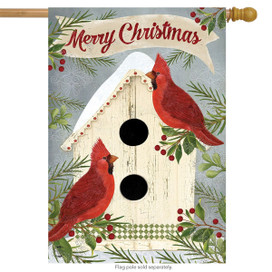 Christmas Cardinal Birdhouse House Flag
