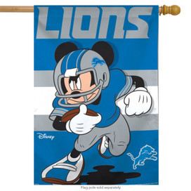 Detroit Lions NFL Mickey Mouse Football House Flag