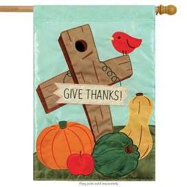 Give Thanks Cross Applique House Flag