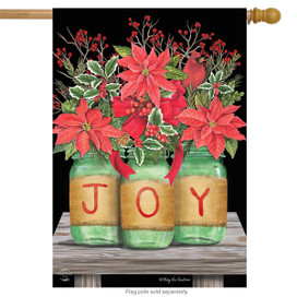 Joy Mason Jars Christmas House Flag