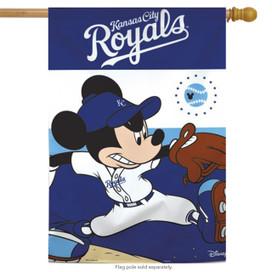 Kansas City Royals MLB Mickey Mouse Baseball House Flag