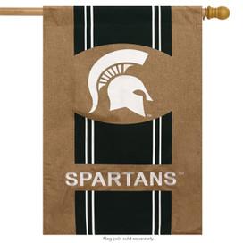 Michigan State University Burlap House Flag