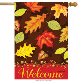Fall Leaves Welcome House Flag