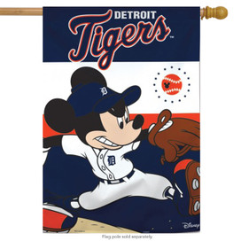 Detroit Tigers MLB Mickey Mouse Baseball House Flag