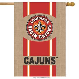 Louisiana Ragin Cajuns Burlap Licensed NCAA House Flag