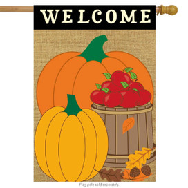 Welcome Harvest Fall Burlap House Flag