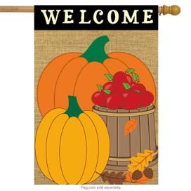 Welcome Harvest Fall Burlap House Flag