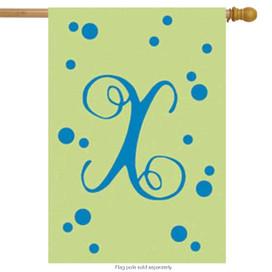 Polka Dot Embroidered Monogram House Flag - Letter X