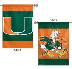 University of Miami Hurricanes 2 Sided NCAA House Flag