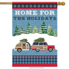 Home for the Holidays Rustic House Flag