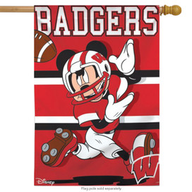 University of Wisconsin Badgers NCAA Mickey Mouse House Flag
