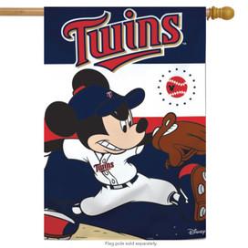 Minnesota Twins MLB Mickey Mouse Baseball House Flag