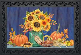 Fall Mason Jar Floral Doormat