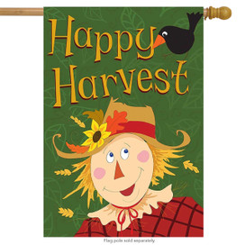 Happy Harvest Scarecrow Fall House Flag