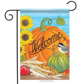 Chickadee on Pumpkin Welcome Garden Flag