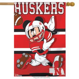 University of Nebraska Huskers NCAA Mickey Mouse House Flag