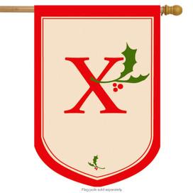 Holiday Monogram X Christmas House Flag