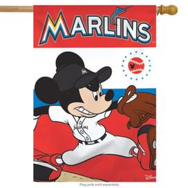 Miami Marlins MLB Mickey Mouse Baseball House Flag