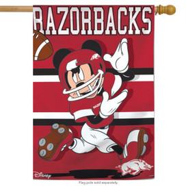 University of Arkansas Razorbacks NCAA Mickey Mouse House Flag