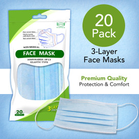 Disposable 3-Layer Face Masks - 20 Count