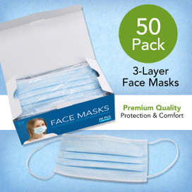 Disposable Face Masks - 50 Count