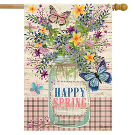 Happy Spring Mason Jar House Flag