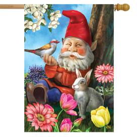 Garden Gnome Spring House Flag