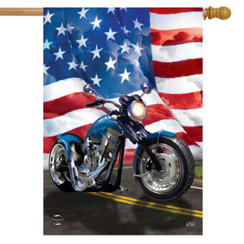 American Motorcycle Patriotic House Flag