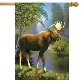 Wild Moose Summer House Flag