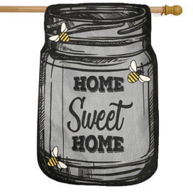 Home Sweet Home Mason Jar Summer Burlap House Flag