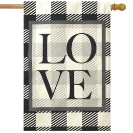 Checkered Love Plaid Burlap House Flag