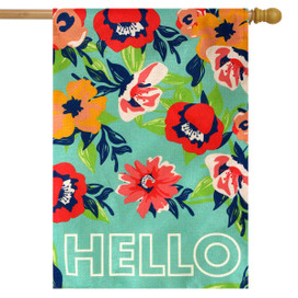 Hello Floral Spring Burlap House Flag