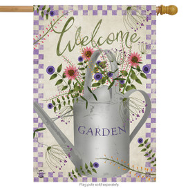 Watering Can Welcome Spring House Flag