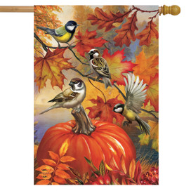 Autumn Bird Gathering House Flag