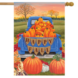 Happy Fall Pickup Pumpkins House Flag