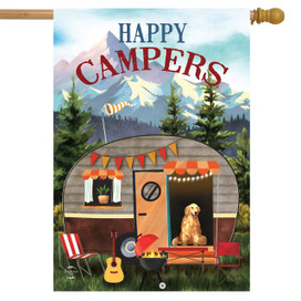 Great Outdoors Camper Fall House Flag