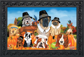 Give Thanks Dogs Thanksgiving Doormat