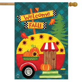 Welcome Fall Camper Primitive House Flag