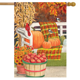 Autumn Picnic Scene House Flag