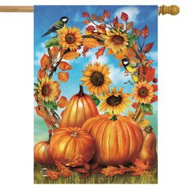 Autumn Wreath Still Life House Flag