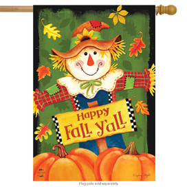 Fall Y'all Scarecrow Primitive House Flag