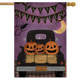 Halloween Truck Primitive House Flag