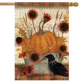 Primitive Pumpkins Autumn House Flag