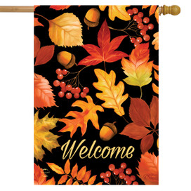 Fall Leaves & Acorns Welcome House Flag