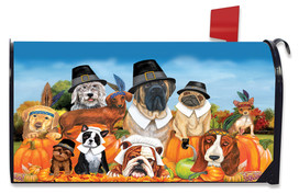 Give Thanks Dogs Thanksgiving Maibox Cover